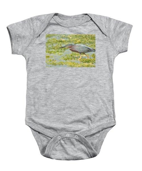 Green Heron On The Hunt Baby Onesie