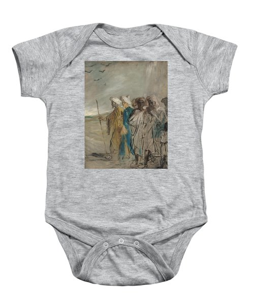 Group Of Arabs Or, Joseph Sold By His Brothers Oil On Canvas Baby Onesie