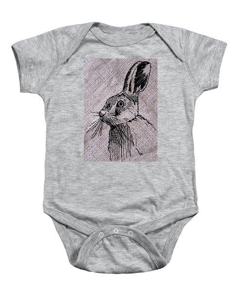 Hare On Burlap Baby Onesie
