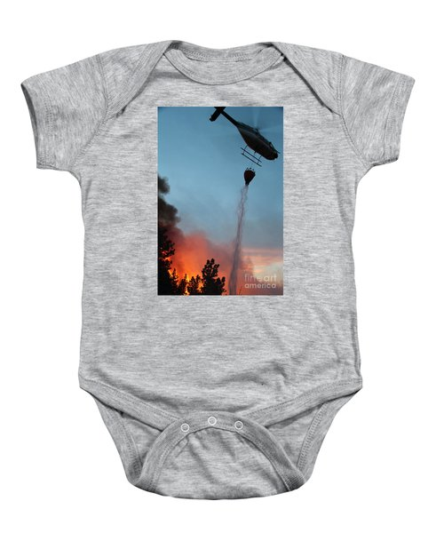 Helicopter Drops Water On White Draw Fire Baby Onesie
