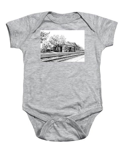 Hinsdale Train Station Baby Onesie