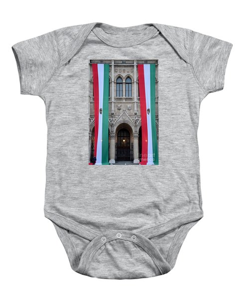Hungary Flag Hanging At Parliament Budapest Baby Onesie