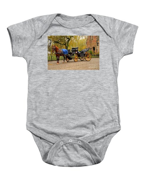 Immaculate Horse And Carriage Bruges Belgium Baby Onesie