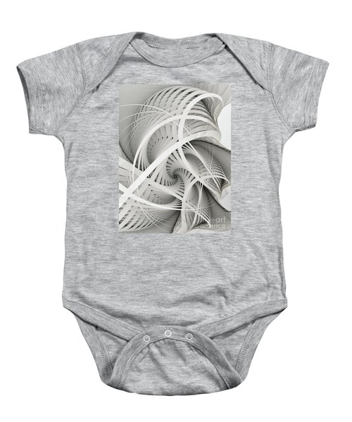 In Betweens-white Fractal Spiral Baby Onesie