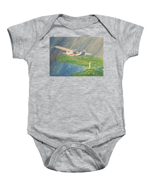 Island Airlines Ford Trimotor Over Put-in-bay In The Winter Baby Onesie