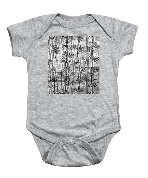 Japanese Bamboo Grunge Black And White Baby Onesie