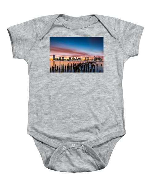 Jersey City Skyline At Sunset Baby Onesie