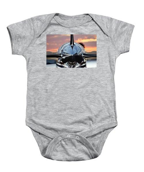 Airplane At Sunset Baby Onesie