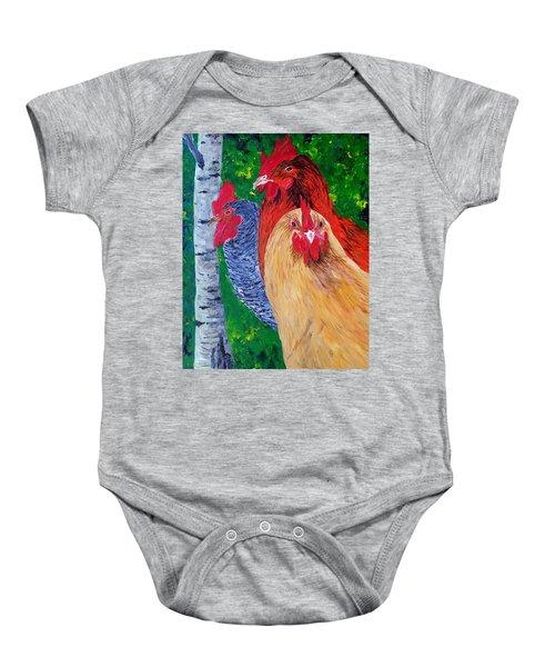 John's Chickens Baby Onesie