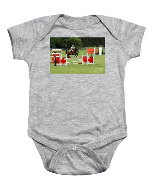 Jumping Canadian Fence Baby Onesie
