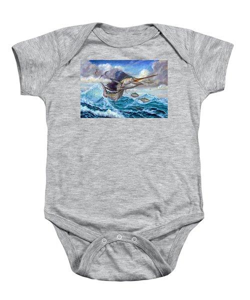 Jumping Sailfish And Small Fish Baby Onesie