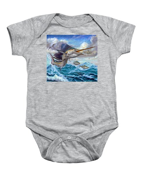 Jumping Sailfish And Small Fish Baby Onesie
