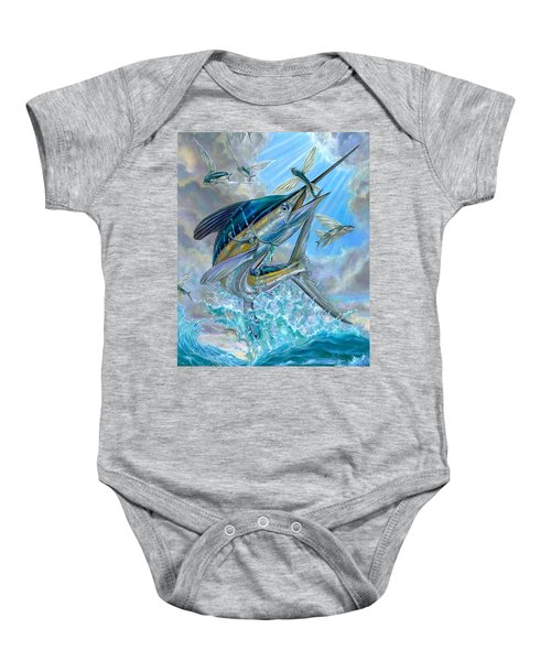 Jumping White Marlin And Flying Fish Baby Onesie