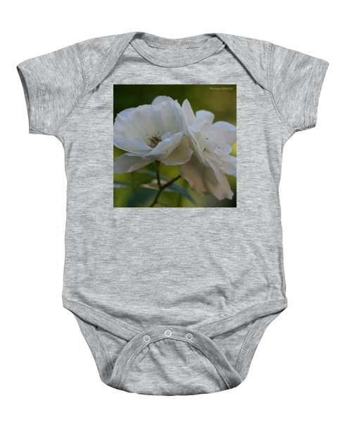 Lean On Me White Roses In Anna's Gardens Baby Onesie