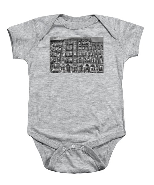 Led Zeppelin Physical Graffiti Building In Black And White Baby Onesie by Randy Aveille