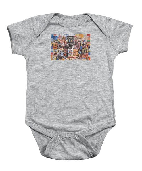 Led Zeppelin Years Collage Baby Onesie by Donna Wilson