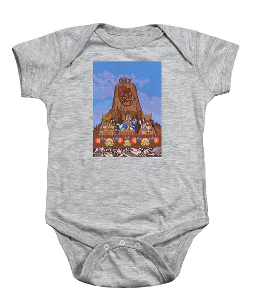 Baby Onesie featuring the painting Legend Of Bear's Tipi by Chholing Taha