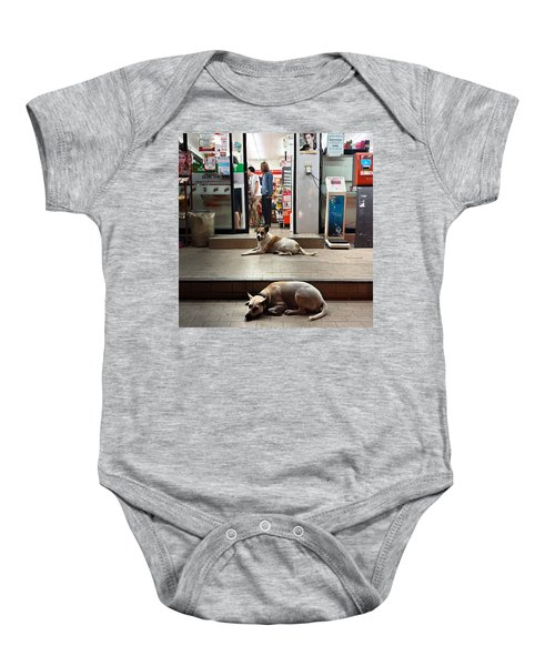 Baby Onesie featuring the photograph Let Sleeping Dogs Lie Where They May by Mr Photojimsf