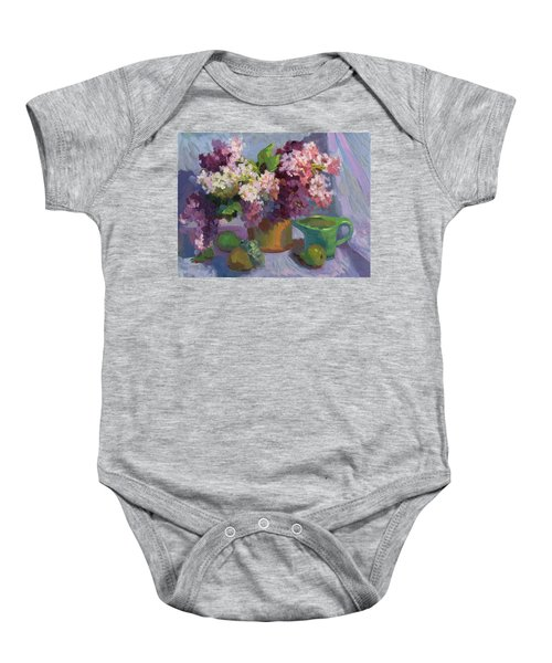 Lilacs And Pears Baby Onesie