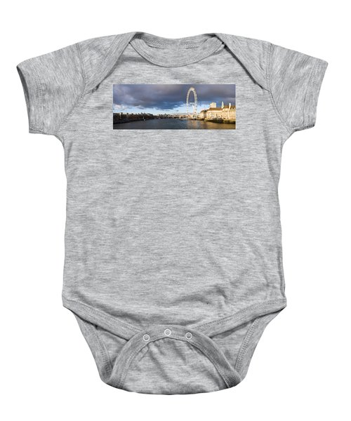 London Eye At South Bank, Thames River Baby Onesie by Panoramic Images