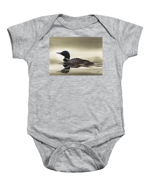 Loon In Still Waters Baby Onesie