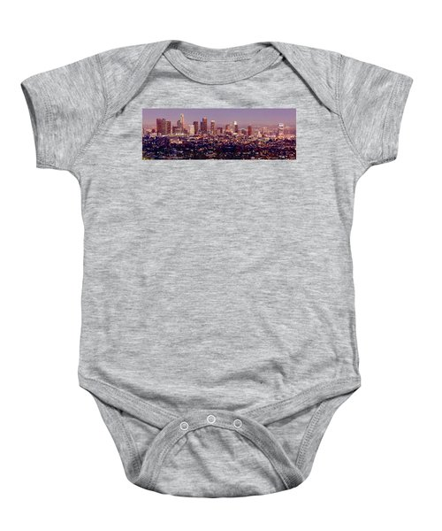 Los Angeles Skyline At Dusk Baby Onesie by Jon Holiday
