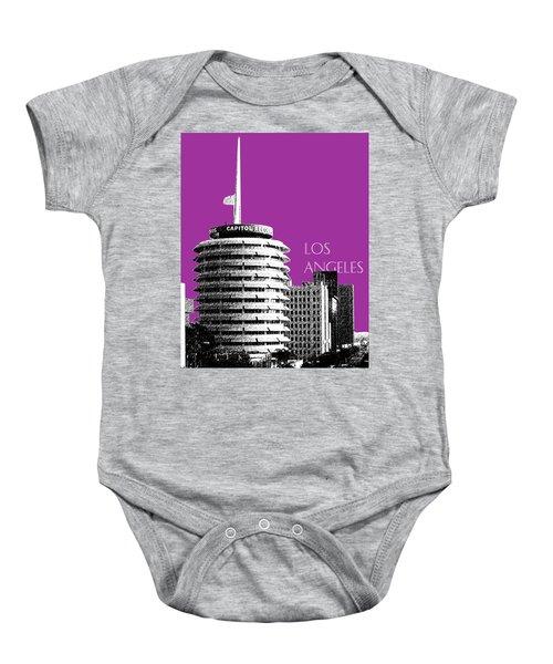 Los Angeles Skyline Capitol Records - Plum Baby Onesie