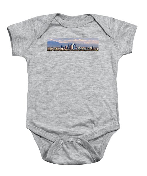 Los Angeles Skyline With Mountains In Background Baby Onesie by Jon Holiday