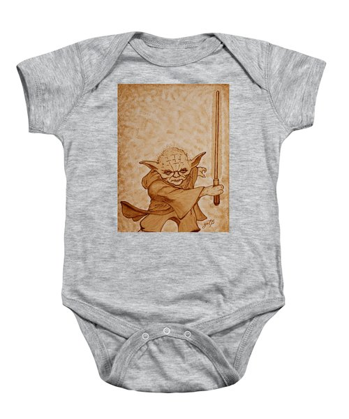 Baby Onesie featuring the painting Master Yoda Jedi Fight Beer Painting by Georgeta  Blanaru