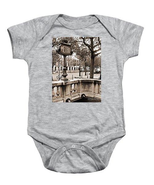 Metro Franklin Roosevelt - Paris - Vintage Sign And Streets Baby Onesie