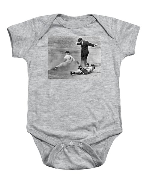 Mickey Mantle Steals Second Baby Onesie by Underwood Archives