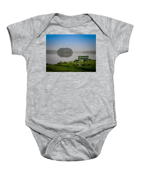 Baby Onesie featuring the photograph Misty Morning On Lake Knockalough by James Truett