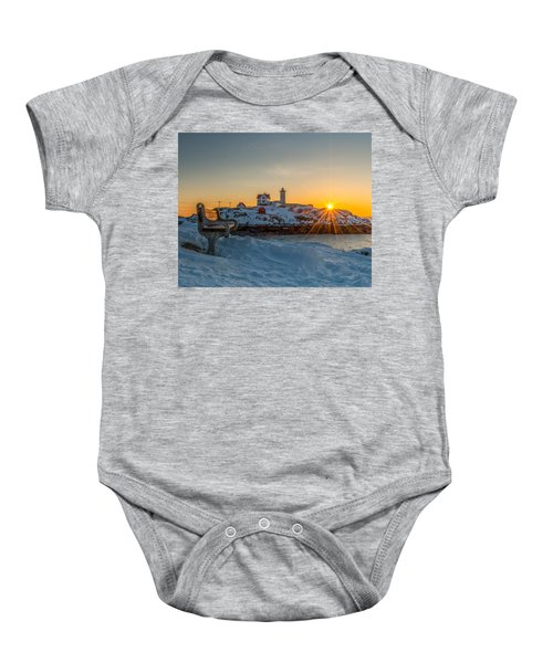 Morning Light At Nubble Lighthouse Baby Onesie