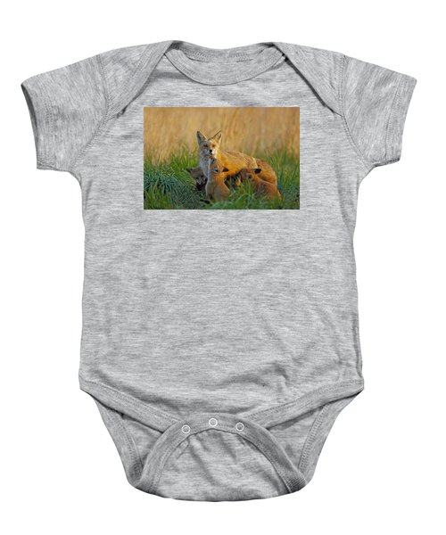 Mother Fox And Kits Baby Onesie