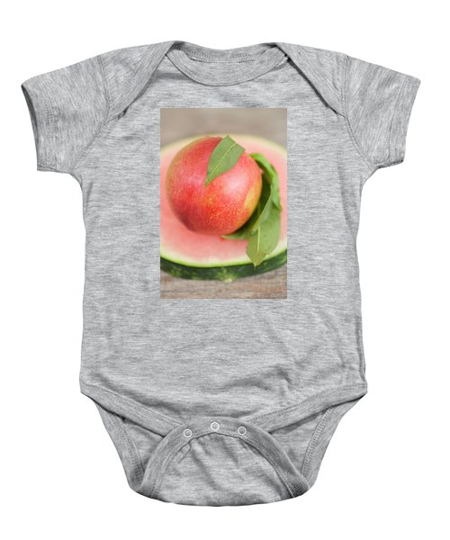 Nectarine With Leaves On Slice Of Watermelon Baby Onesie