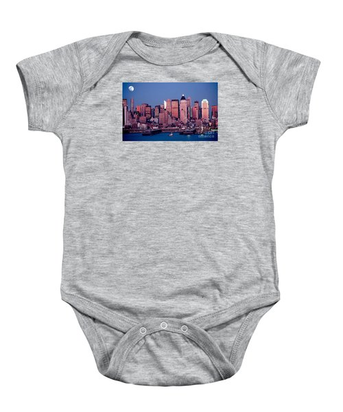 New York Skyline At Dusk Baby Onesie