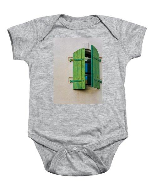 Old Green Shuttered Window Baby Onesie