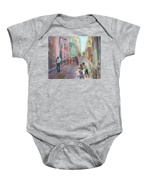 Old Havana Street Life - Sale - Large Scenic Cityscape Painting Baby Onesie