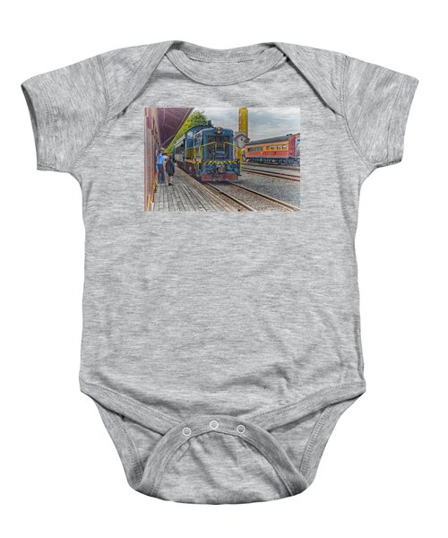 Baby Onesie featuring the photograph Old Town Sacramento Railroad by Jim Thompson