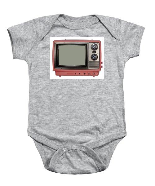 Vintage Tv Set Baby Onesie