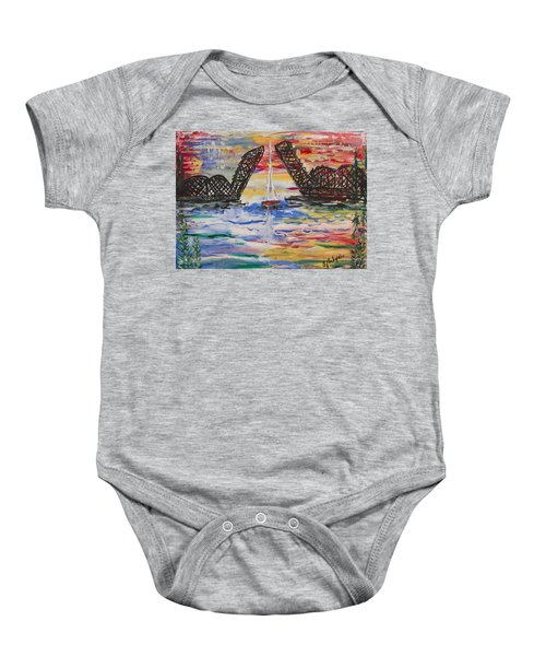 On The Hour. The Sailboat And The Steel Bridge Baby Onesie