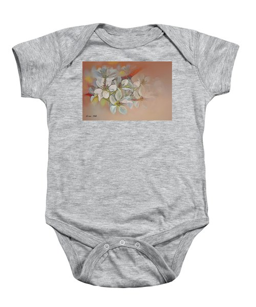 Oriental Pear Blossom Branch Baby Onesie
