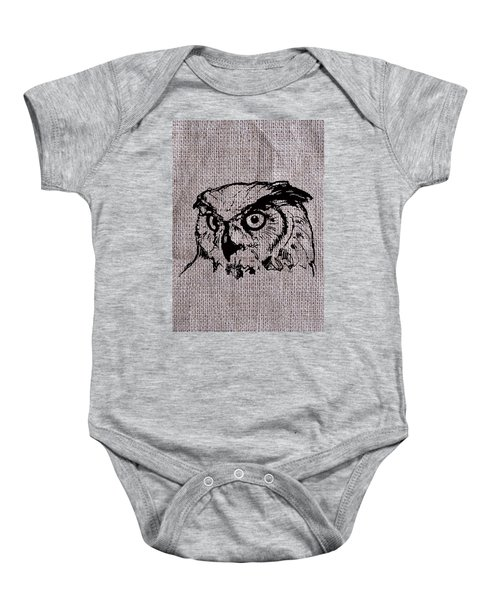 Owl On Burlap Baby Onesie