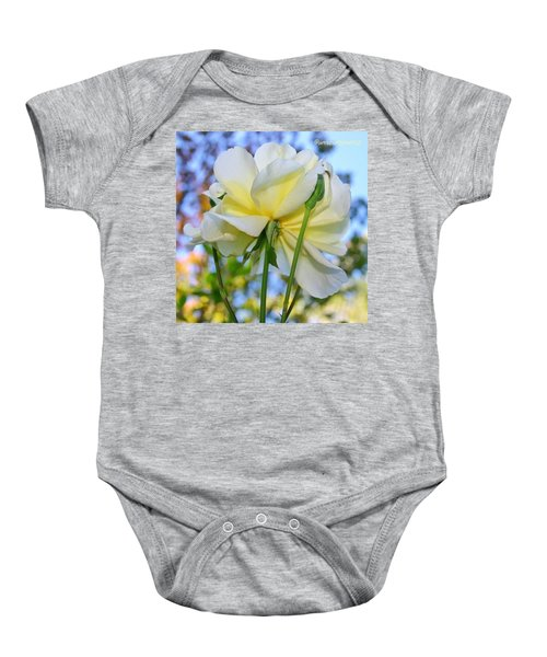 Pale Yellow Rose And Blue Sky Baby Onesie
