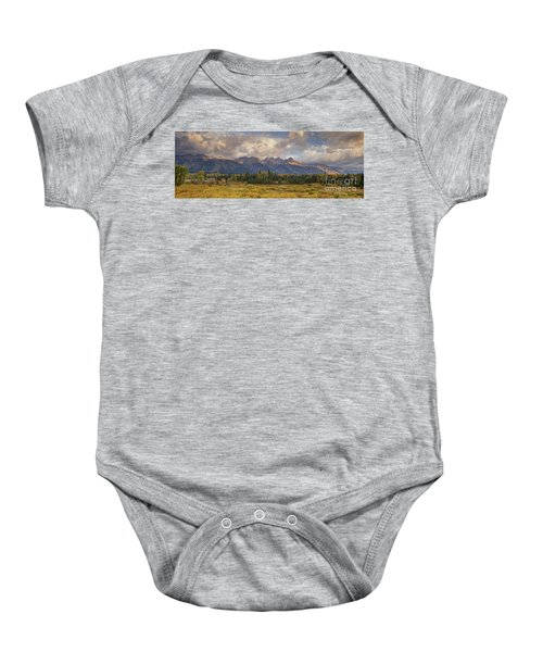 Panaroma Clearing Storm On A Fall Morning In Grand Tetons National Park Baby Onesie