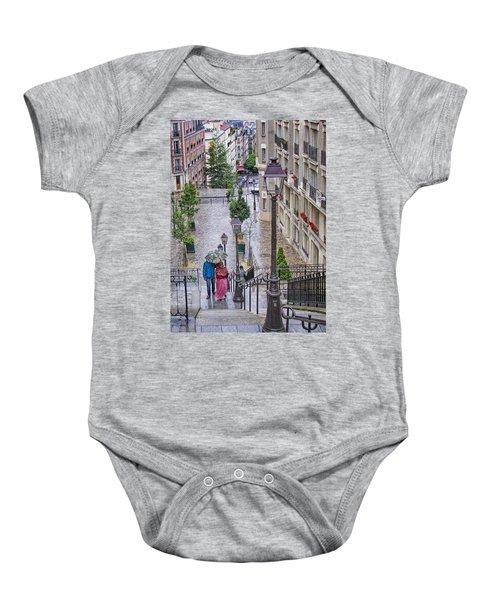 Paris Sous La Pluie Baby Onesie by Nikolyn McDonald