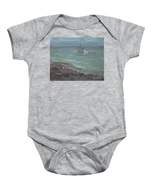 Pebbly Beach Sail Boat Baby Onesie