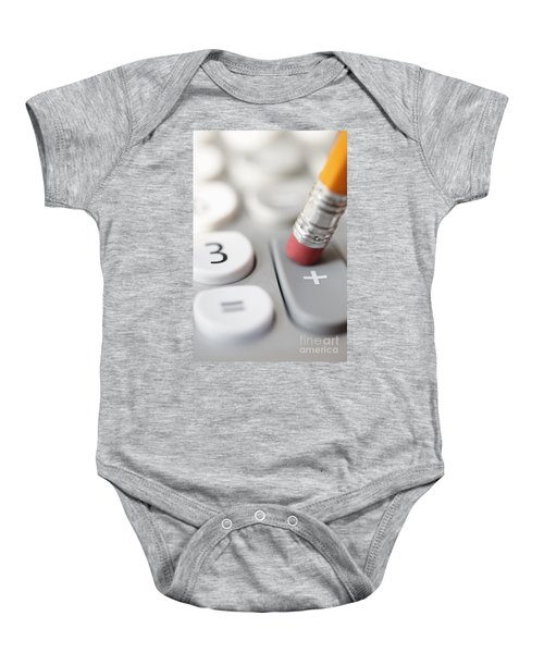 Pencil Pushing Addition Button On Calculator Baby Onesie