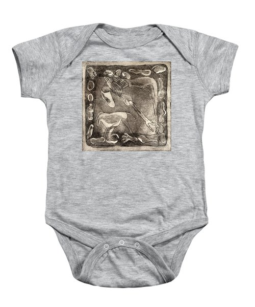 Petroglyph - Horse Takhi And Stones - Prehistoric Art - Cave Art - Rock Art - Cave Painters Baby Onesie