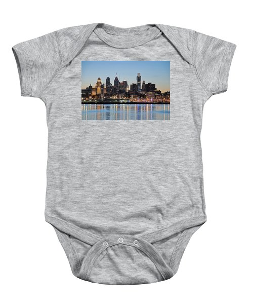 Baby Onesie featuring the photograph Philly Sunset by Jennifer Ancker